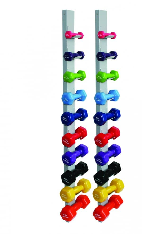 CanDo® Vinyl Coated Dumbbell - 20-Piece Set with 2 Wall Racks