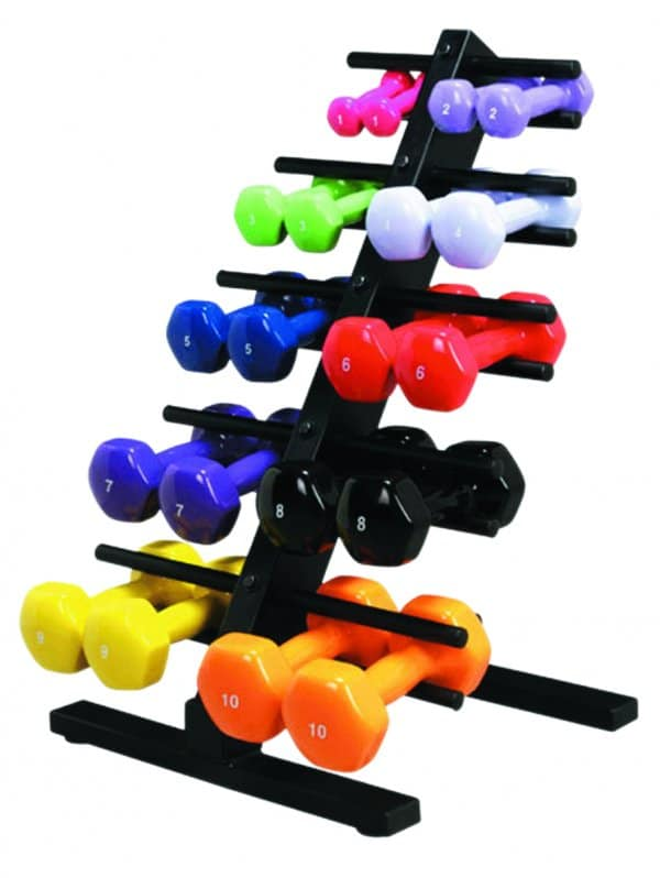 CanDo® Vinyl Coated Dumbbells - 10-piece set with Floor Rack