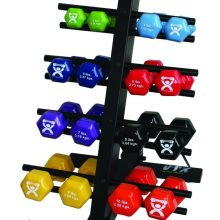 CanDo® Vinyl Coated Dumbbells - 20-Piece Set with Floor Rack