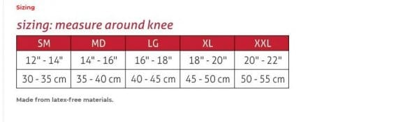Mueller Sports Medicine Hg80 Knee Stabilizer - Sizing Chart