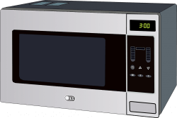 A microwave oven that can be used with a ziploc bag and two towels to make a moist heating pad at home