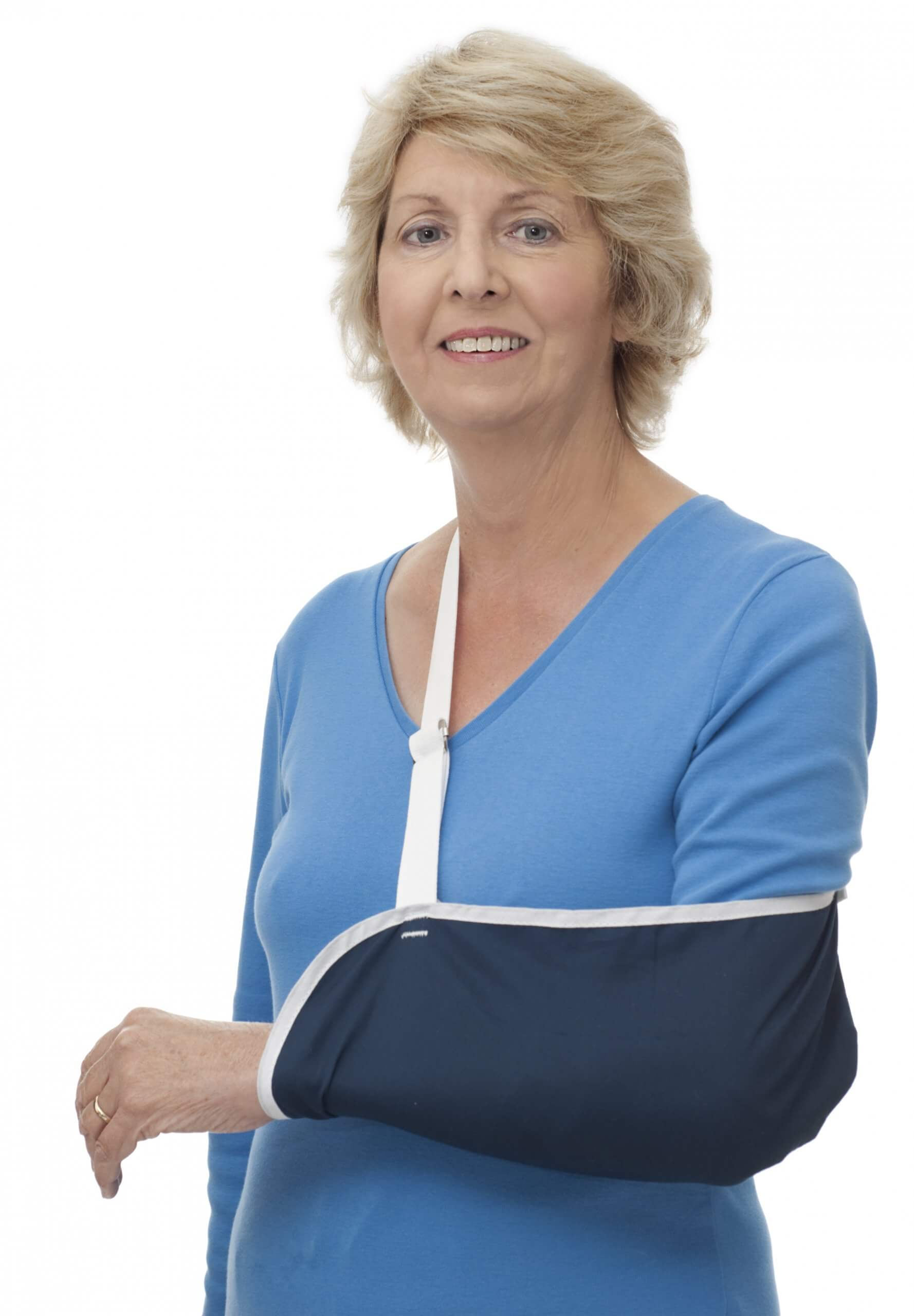 Woman wearing an arm sling